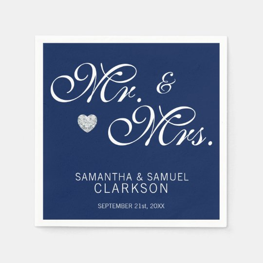 Mr. & Mrs. Navy Blue Diamond Heart Wedding Paper Paper Napkin