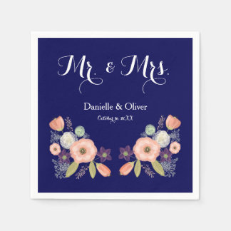 Mr & Mrs Navy Watercolor Cocktail Party Napkins Disposable Napkin