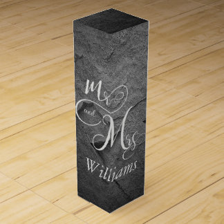 Mr & Mrs newlyweds on black slate Wine Gift Box