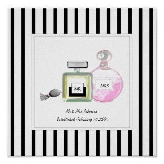Mr & Mrs Perfume Bottles Personalized Wedding Poster