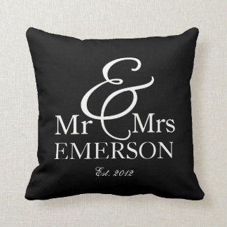 """Mr & Mrs"" personalized black & white Throw Pillow"