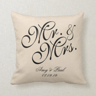 Mr.&Mrs.Personalized Cotton Fabric Textured Throw Pillow