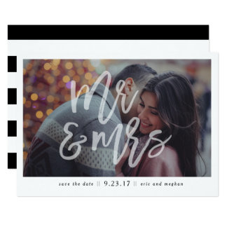"""""""Mr. & Mrs."""" Photo Save the Date Card"""