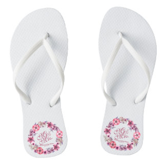 Mr & Mrs Pink Floral Watercolor Wedding Flip Flops