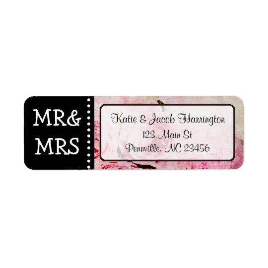 Mr & Mrs Pink Rose Return Address Labels