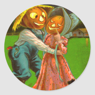Mr. & Mrs. Pumpkin With Their Black Cat Classic Round Sticker