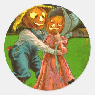 Mr. & Mrs. Pumpkin With Their Black Cat Round Sticker