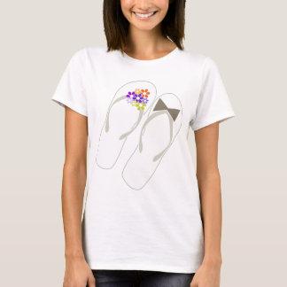 Mr & Mrs Purple Flip Flops Beach Wedding T-shirt