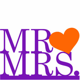 Mr & Mrs Purple & Orange Heart Cake Topper Standing Photo Sculpture