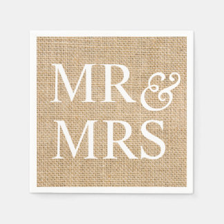 Mr & Mrs Rustic Wedding Burlap Trendy Country Paper Napkins