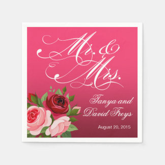 Mr. & Mrs. Script Typography Roses Floral fuchsia Disposable Napkin