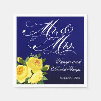 Mr. & Mrs. Script Typography Roses Floral navy Disposable Napkins