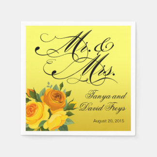 Mr. & Mrs. Script Typography Roses Floral yellow Paper Napkins