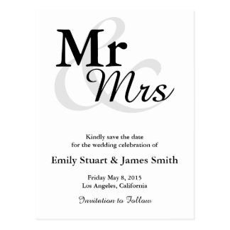 Mr&Mrs Simple Elegant Typography Save the Date Postcard