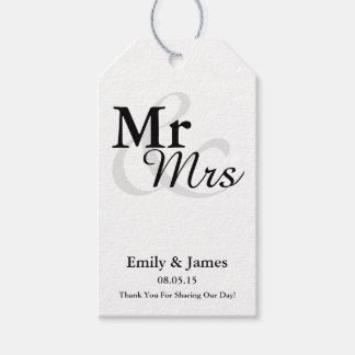 Mr&Mrs Simple Elegant Typography Wedding Favor Gift Tags