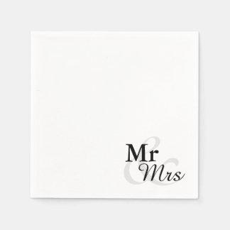 Mr&Mrs Simple Elegant Typography Wedding Napkin