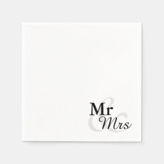 Mr&Mrs Simple Elegant Typography Wedding Paper Napkins