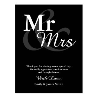 Mr&Mrs Simple Elegant Typography Wedding Thank You Postcard