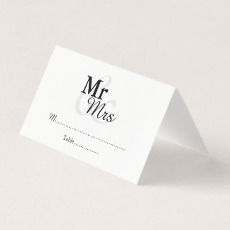 Mr&Mrs Simple Elegant Wedding Place Card