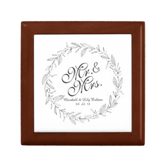 Mr. & Mrs. Simple Floral Wedding Gift Box