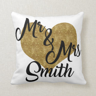 Mr & Mrs Smith Heart Pillow