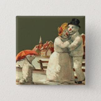 Mr & Mrs Snowman Button