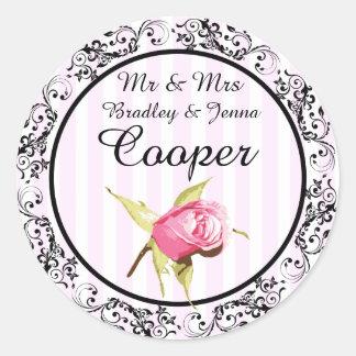 Mr & Mrs Stickers Vintage Rose Pink Black Blue