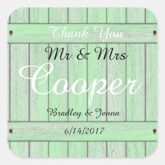 Mr & Mrs Stickers Vintage Rose Rustic Wood Green