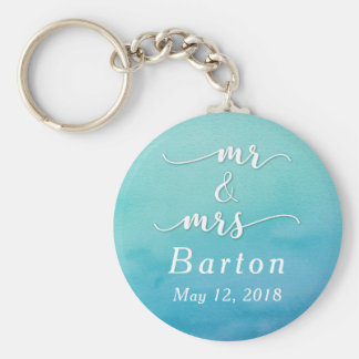 """Mr & Mrs"" Teal & Blue Wedding with Date Basic Round Button Keychain"