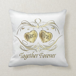 Mr & Mrs Together Forever | White and Gold Throw Pillow