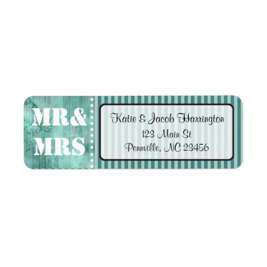 Mr & Mrs Turquoise Return Address Labels