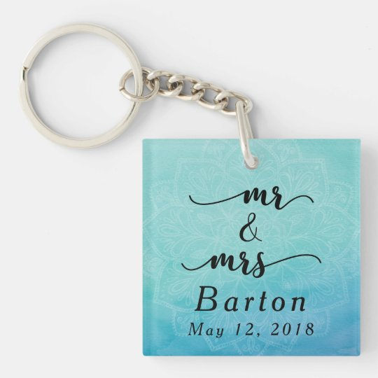 Mr & Mrs Typography Teal & Blue Mandala Wedding Double-Sided Square Acrylic Keychain