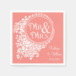 Mr & Mrs Vintage Coral Personalized Napkins Disposable Napkins