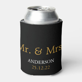 Mr. & Mrs. Wedding Favor Gold Glitter Can Cooler