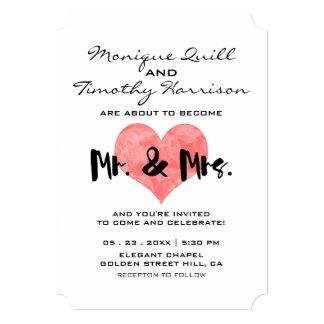 Mr Mrs Wedding Invitations Pink Hand Stamped Heart