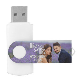 Mr & Mrs Wedding Keepsake, 2 Photos USB Flash Drive