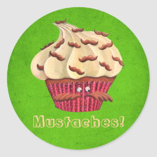 Mr Mustached Cupcake Classic Round Sticker