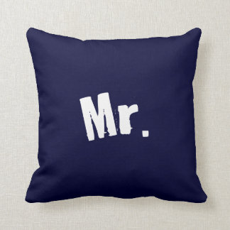 Mr. navy Blue Pillow