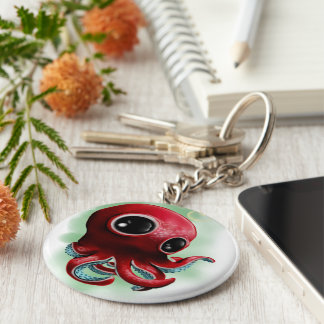 Mr Octopus Basic Round Button Keychain
