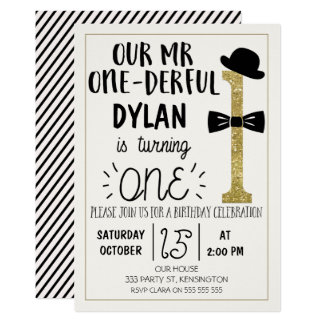Mr ONEderful Birthday Invitation With faux Gold