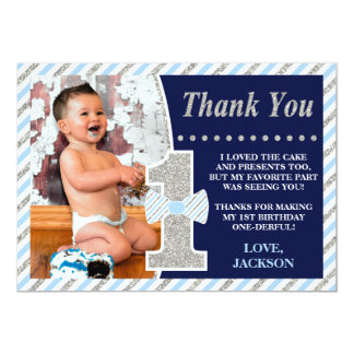 Mr. ONEderful Birthday Thank You Card with Photo