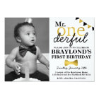 Mr Onederful Black and Gold Invitation with Photo
