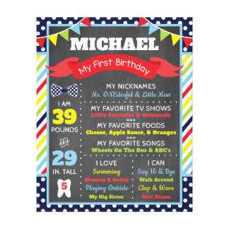 Mr. ONEderful Chalkboard Poster | First Birthday Canvas Print