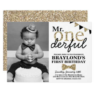 Mr Onederful Photo Invitation, Black and Gold Card