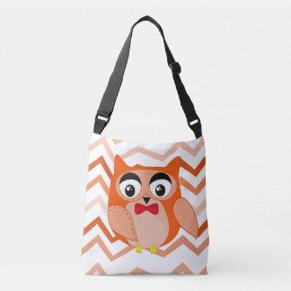 Mr owl is a cute orange and brown owl illustration crossbody bag