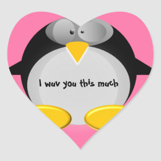 Mr. Penguin - I wuv you this much Heart Sticker