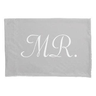 MR Pillowcase: White Script on Gray MR Pillowcase