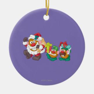 Mr. Potato Head - Santa and Elves Round Ceramic Ornament