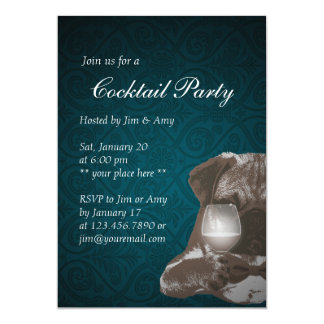 Mr. Pug & Fine Wine Cocktail Party Invitations 04