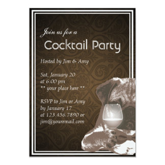 Mr. Pug & Wine Cocktail & Wine Party Invitations
